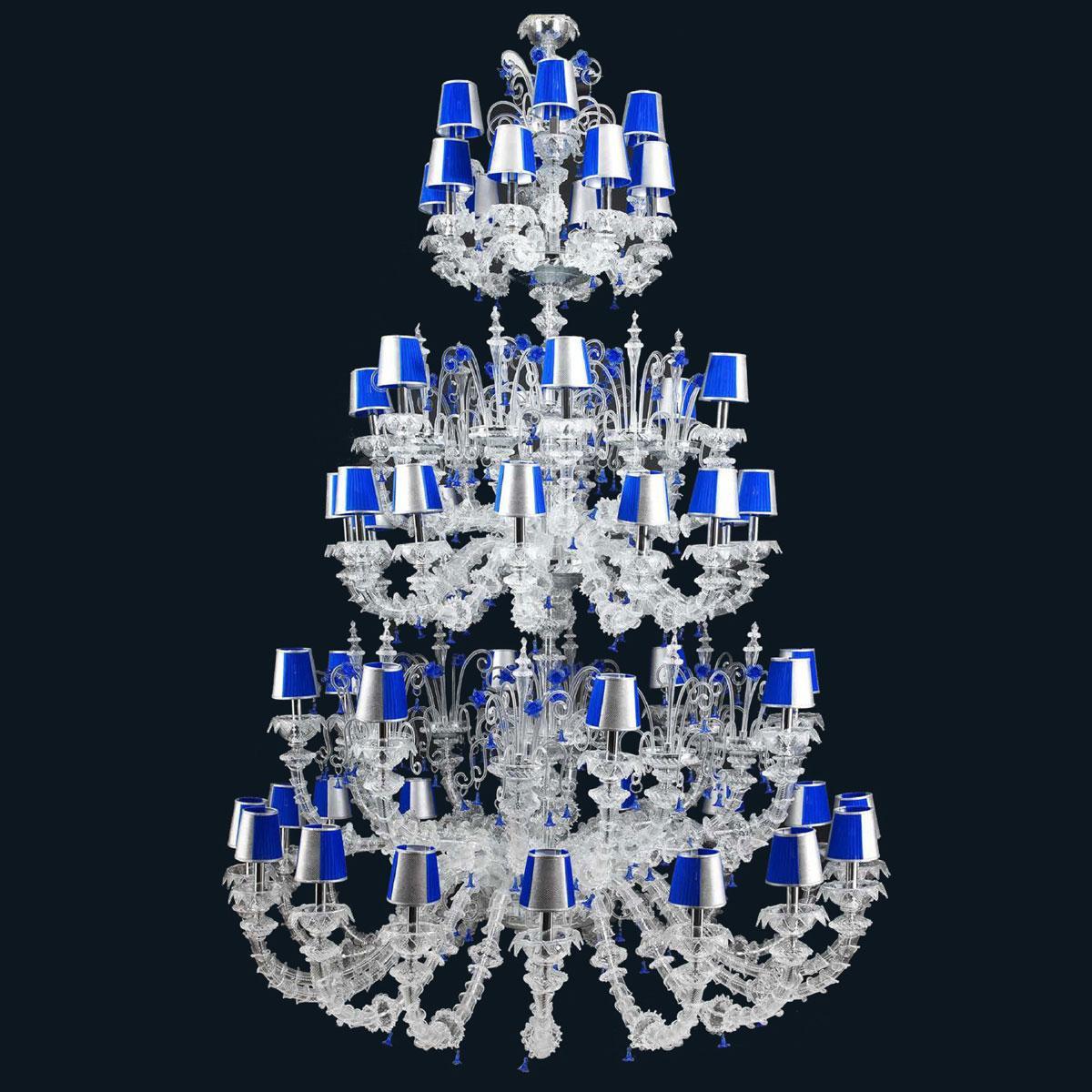 """Julien"" lampara de araña de Murano con pantallas - 16+8+12+6+8+4 luces - transparente y azul"