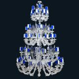 """""""Julien"""" Murano glass chandelier with lampshades - 16+8+12+6+8+4 lights - transparent and blue"""