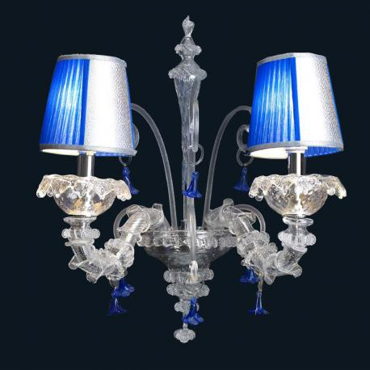 """Julien"" aplique de pared de Murano - 2 luces - transparente y azul"