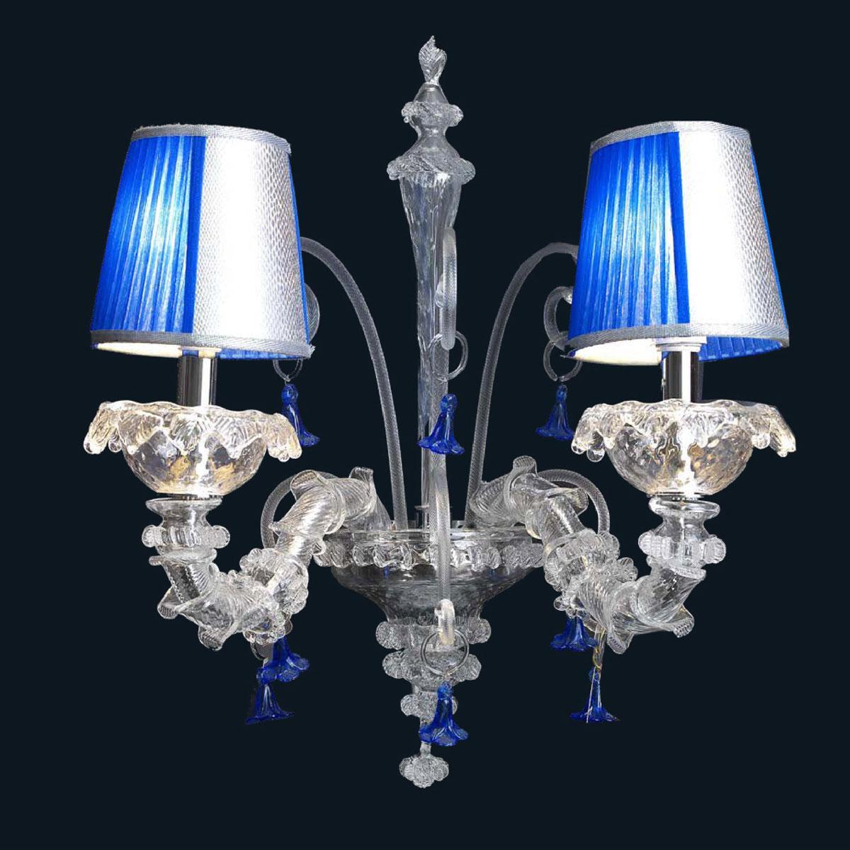 """Julien"" Murano glass sconce - 2 lights - transparent and blue"