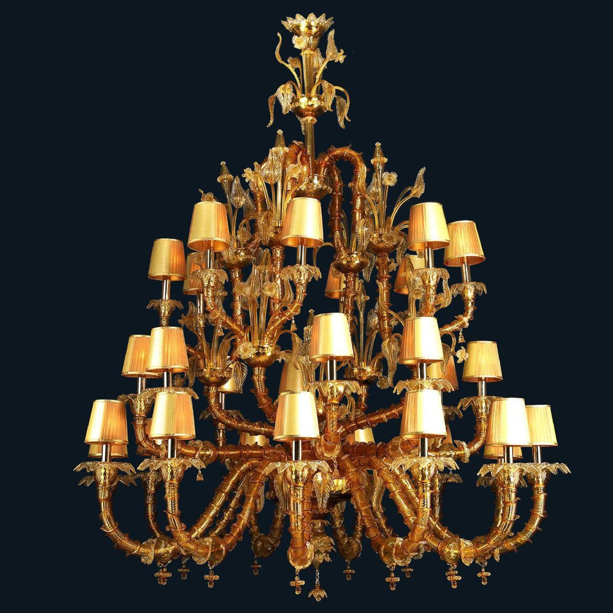 """""""Honey"""" lustre en cristal de Murano avec abat-jour - 12+8+8 lumière - ambre et or"""