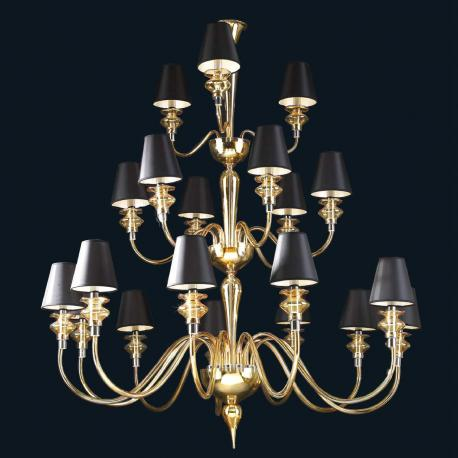 """""""Lillie"""" Murano glass chandelier with lampshades - 12+6+3 lights - amber"""