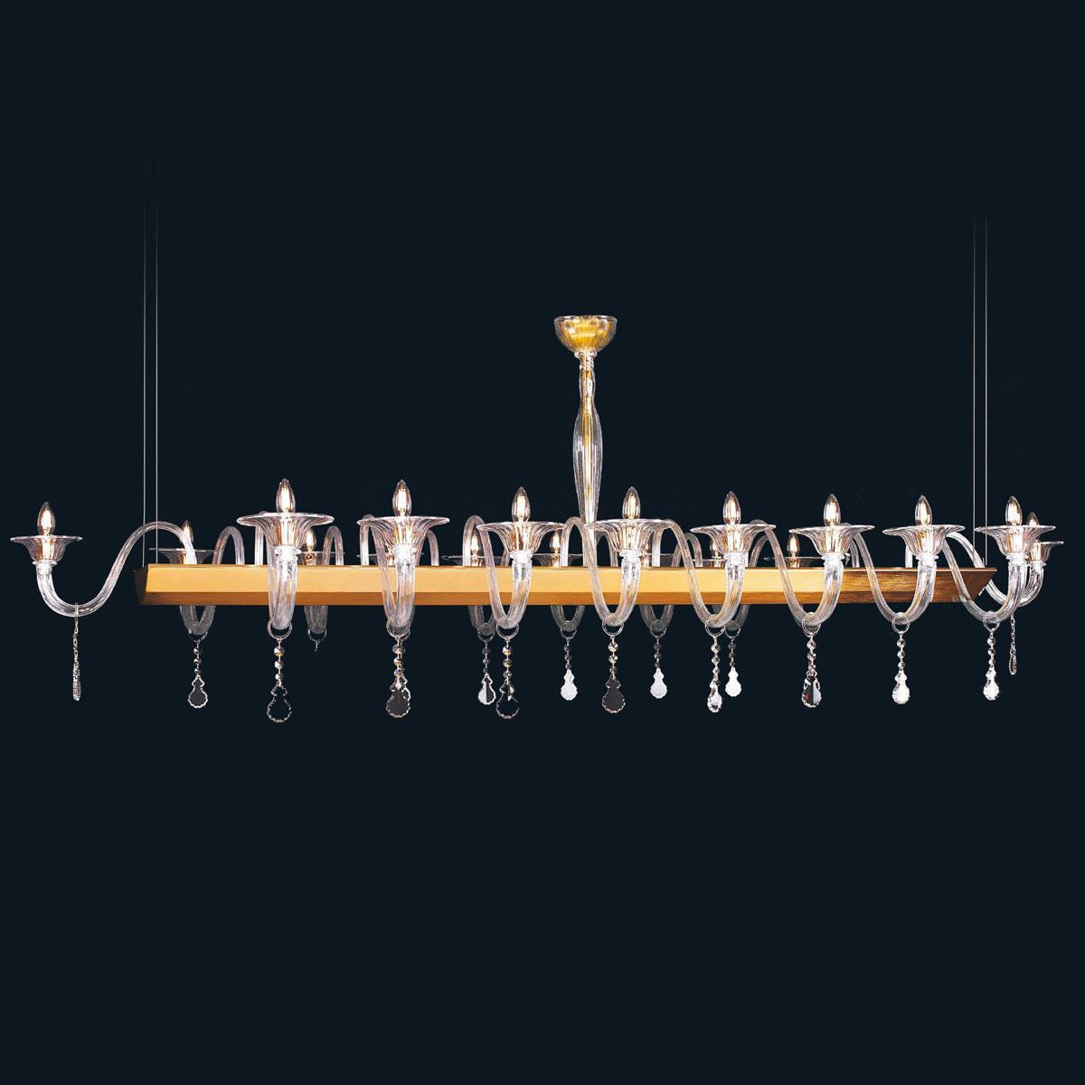 """Nadia"" Murano glass chandelier - 18 lights - transparent"
