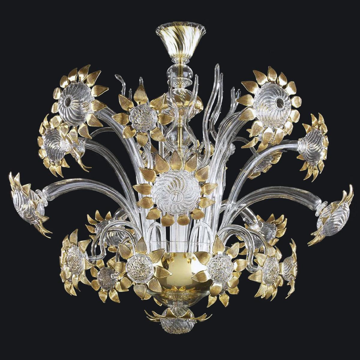 """""""Allegra"""" lustre en cristal de Murano - 5+5 lumières - transparent et or"""