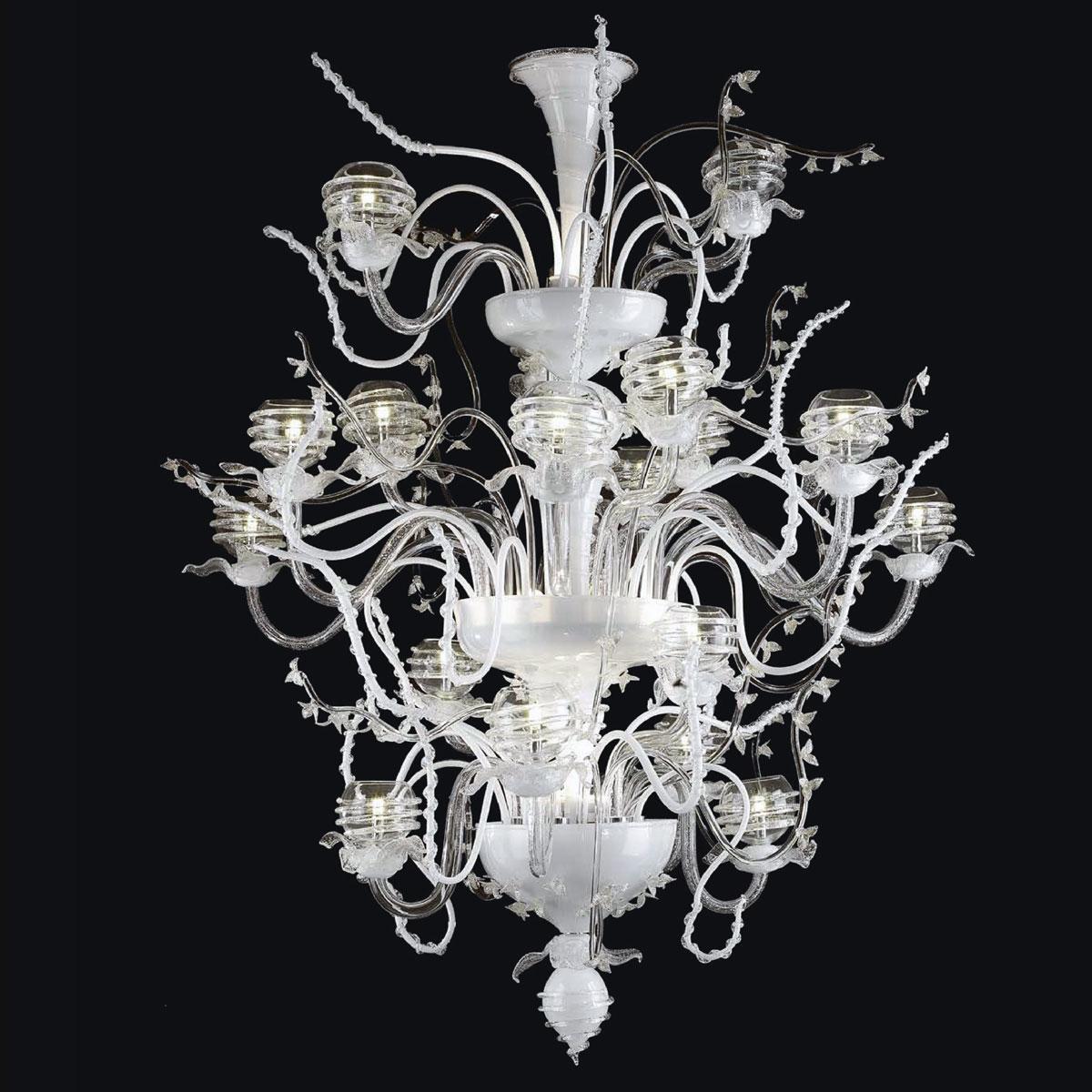"""Dakota"" lampara de araña de Murano - 18+7 luces - transparente, blanco y plata"