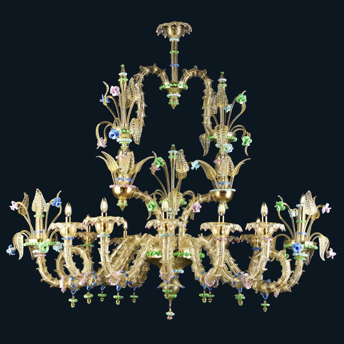 """Mea"" lustre en cristal de Murano - 12 lumières - or"
