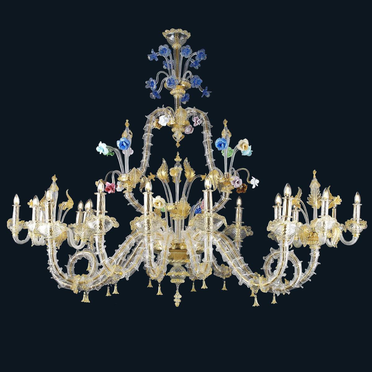 """""""Rea"""" lustre en cristal de Murano - 10+5+5 lumière - or"""