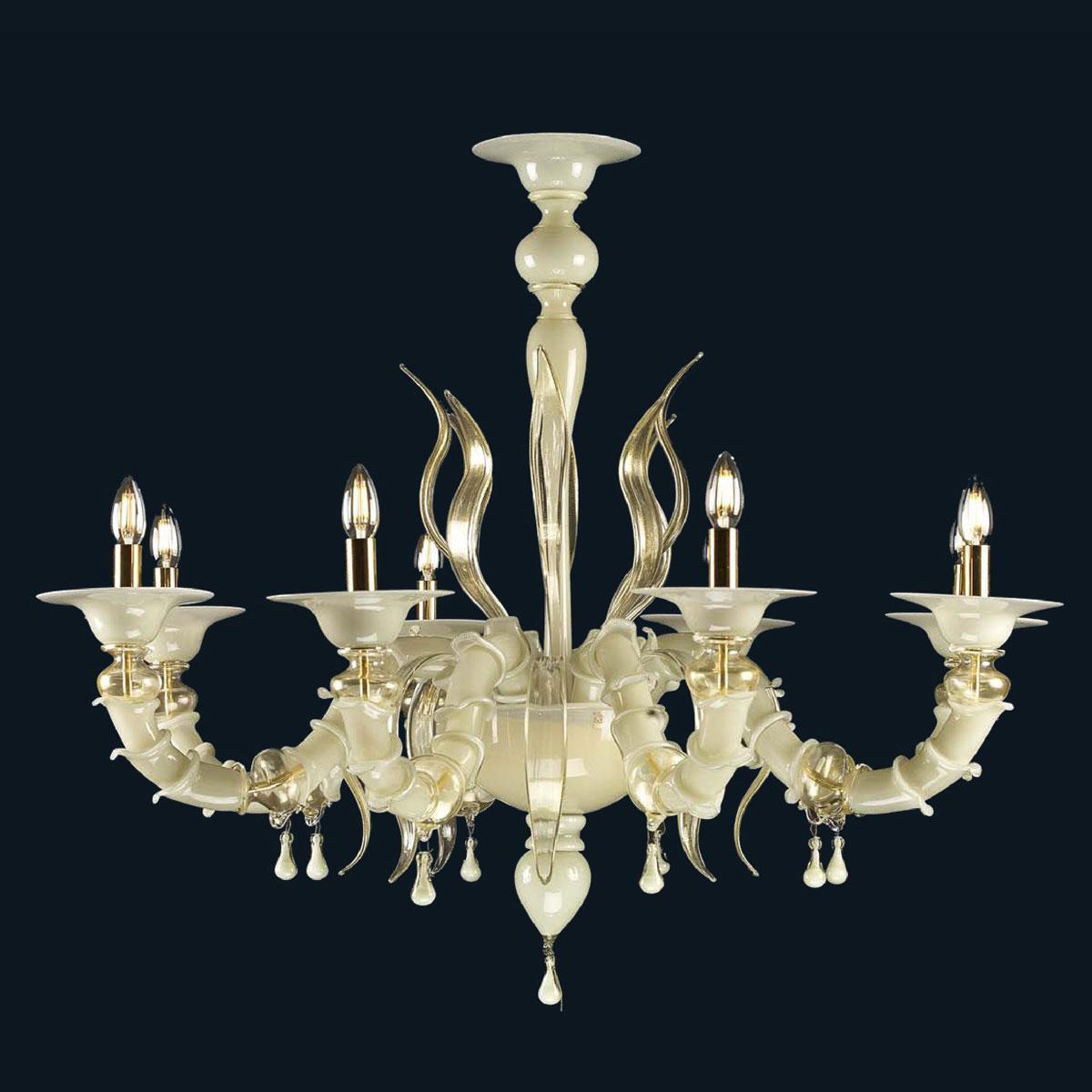 """Savanna"" lustre en cristal de Murano  - 8 lumières - blanc"