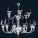 """""""Dainton"""" Murano glass chandelier with lampshades - 12+6 light - transparent and topaz"""