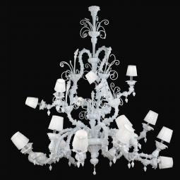"""Theodore"" Murano glass chandelier with lampshades - 12+6 lights - white"
