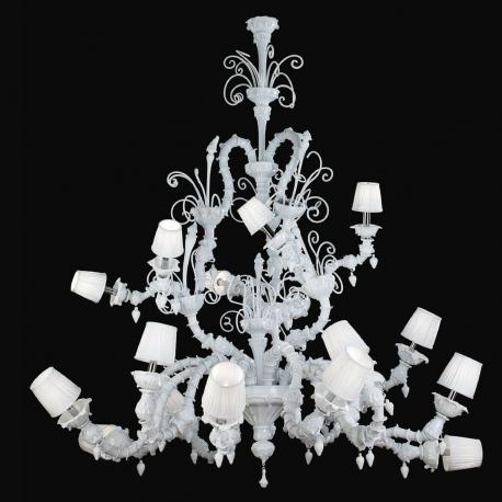 """""""Theodore"""" Murano glass chandelier with lampshades - 12+6 lights - white"""