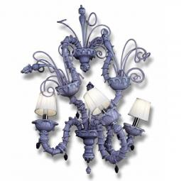 """Theodore"" Murano glass sconce with lampshades - 3 lights - amethyst"