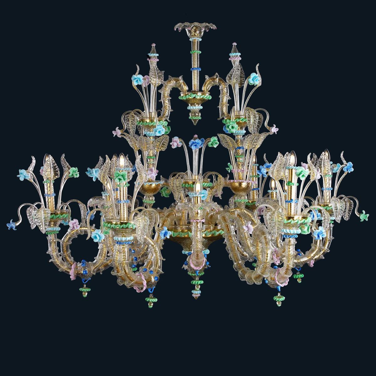 """""""Shannon"""" lustre en cristal de Murano - 12 lumières - or et multicolor"""