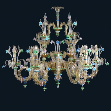 """""""Shannon"""" Murano glass chandelier - 12 lights - gold and multicolor"""