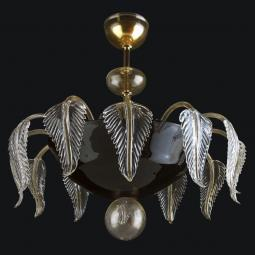 """Jaeden"" Murano glass ceiling light - 6 lights - black and gold"