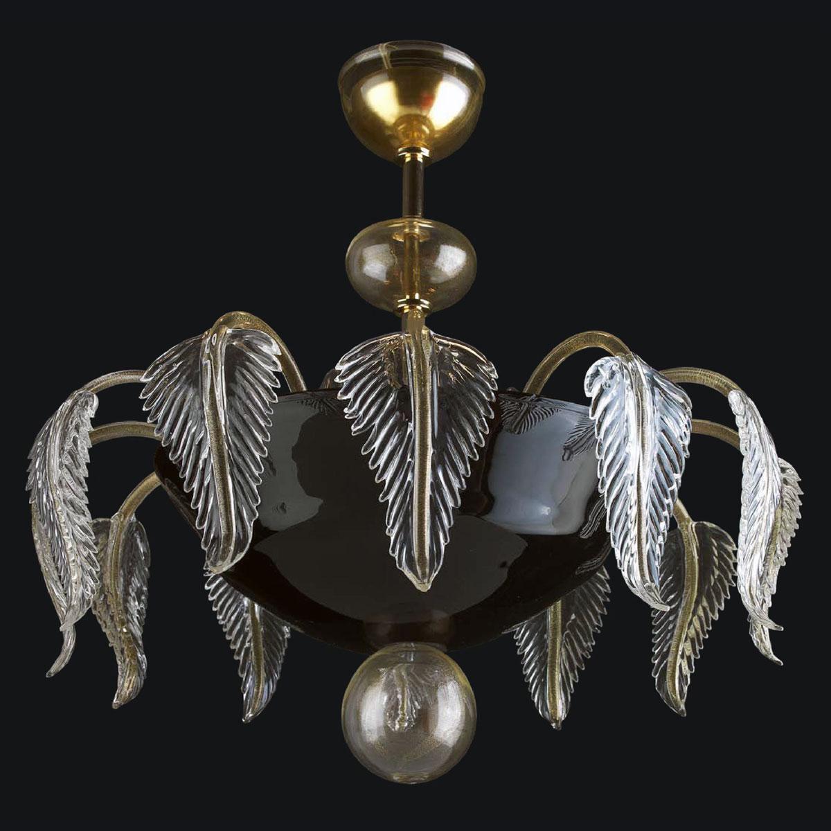 """Jaeden"" Murano glass ceiling light - 6 lights - black and gold"