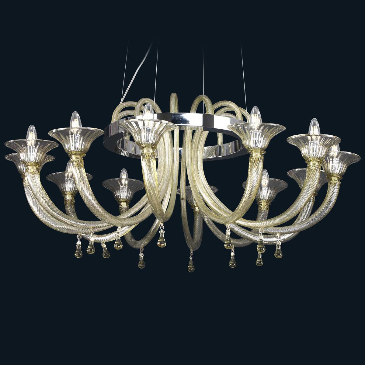 """Maggie"" Murano glass chandelier - 12 lights - smoke"