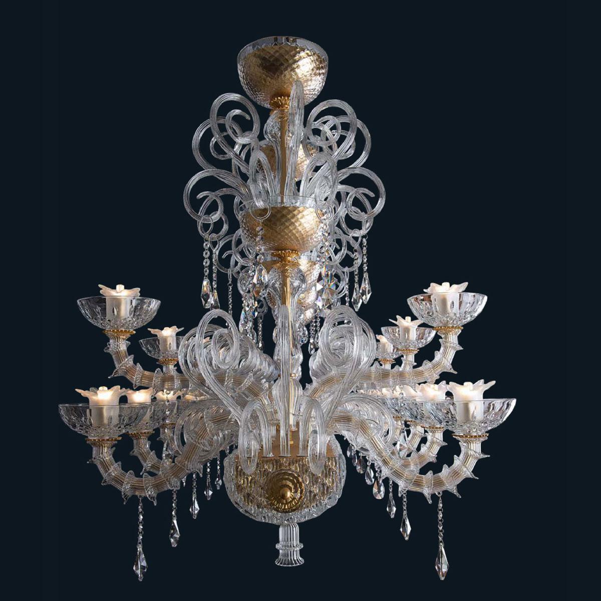 """Cedric"" Murano glass chandelier - 16+8 lights - transparent"