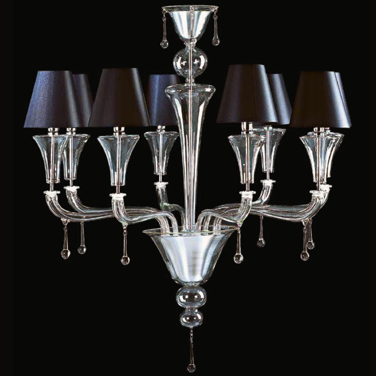 """Elliott"" Murano glass chandelier with lampshades - 8 lights - transparent"