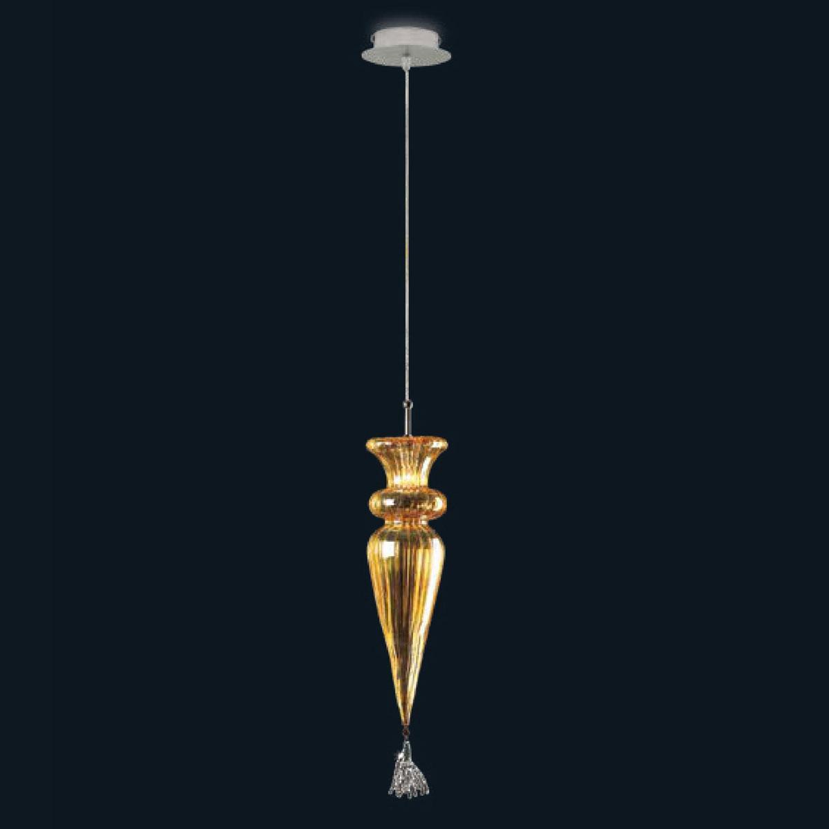 """""""Noel"""" Murano glass pendant light - 1 light - amber"""