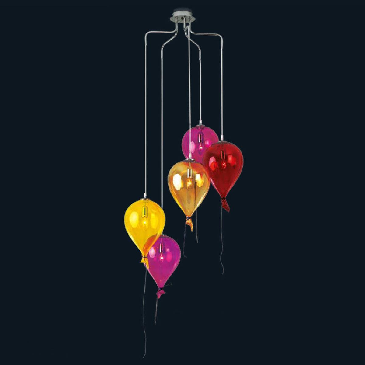"""""""Compleanno"""" Murano glass pendant light - 5 lights - multicolor"""