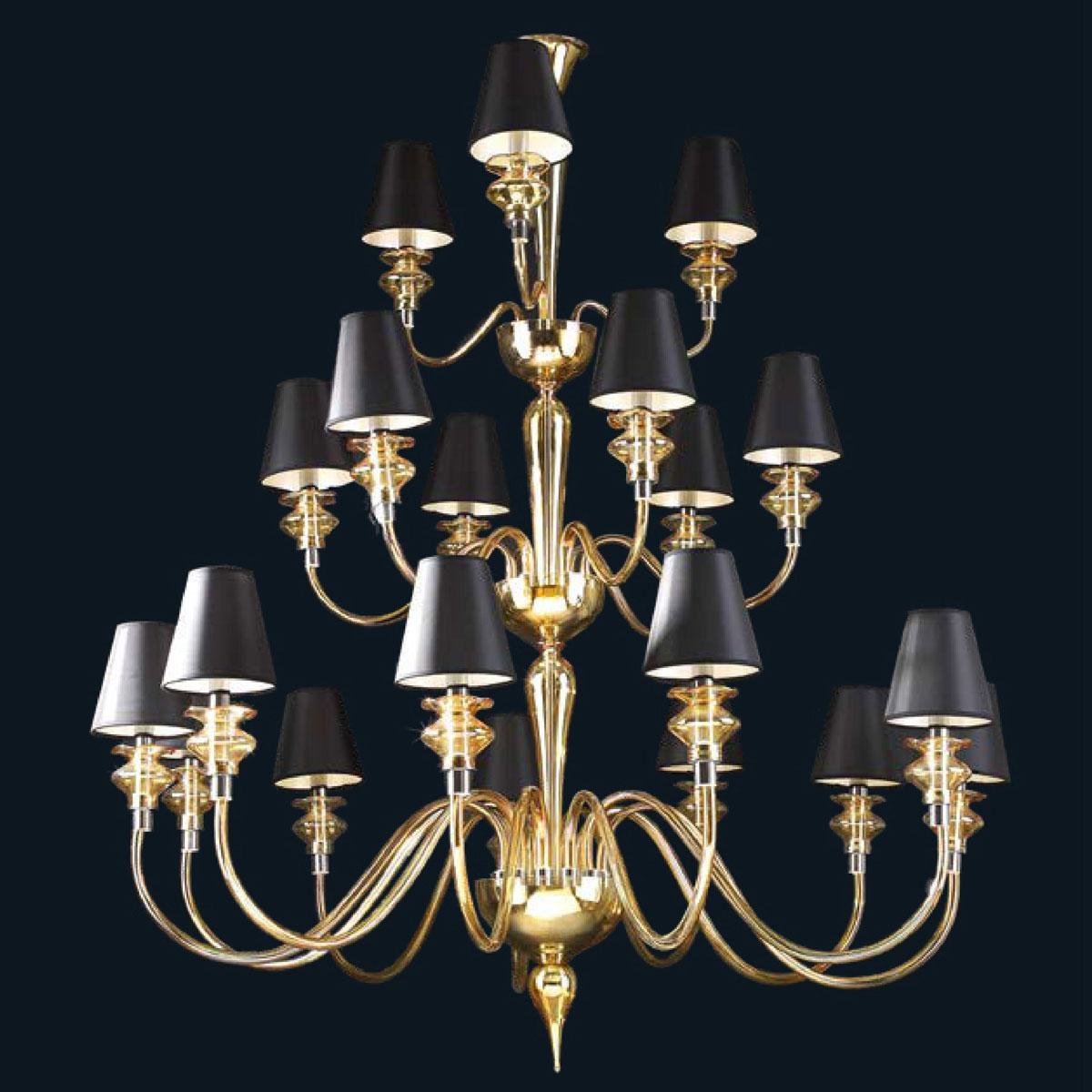 """Cadi"" lustre en cristal de Murano avec abat-jour - 12+6+3 lumières - ambre"