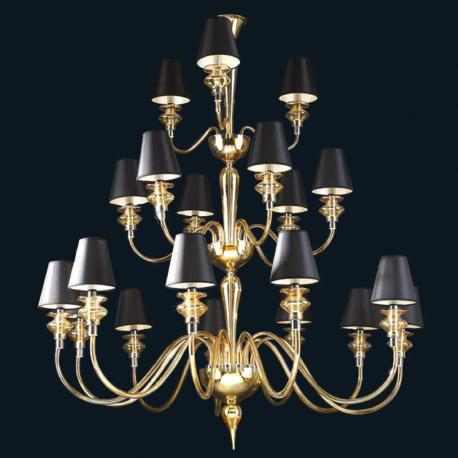 """""""Cadi"""" Murano glass chandelier with lampshades - 12+6+3 lights - amber"""