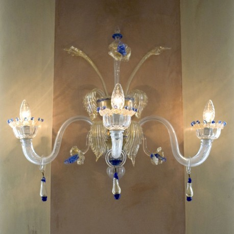 Allegro 3 light Murano sconce - transparent blue color