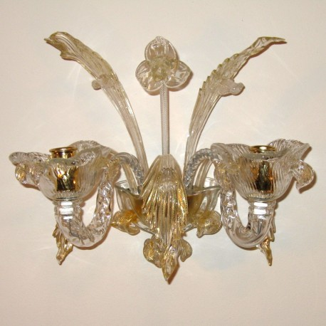 Accademia 2 lights Murano sconce transparent gold color