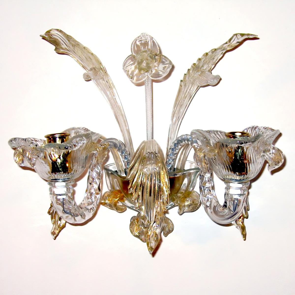 Accademia 2 flammig murano wandleuchte - transparente Gold Farbe
