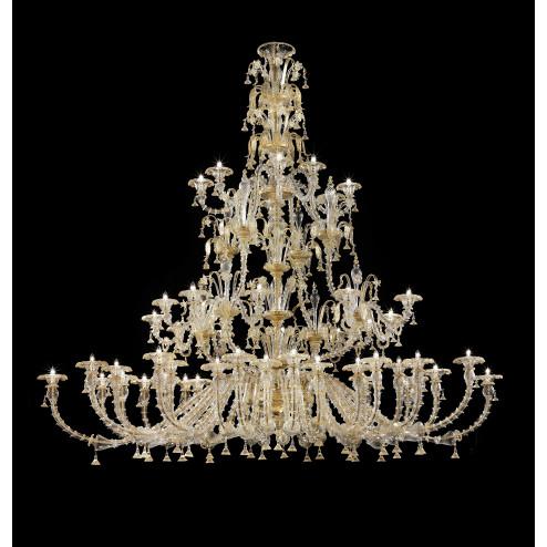 """""""Magnifico"""" grande lampara de araña de Murano a tres niveles y forma oval"""
