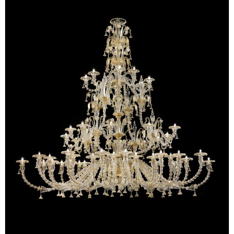 Magnifico large three tier Murano glass chandelier oval shape