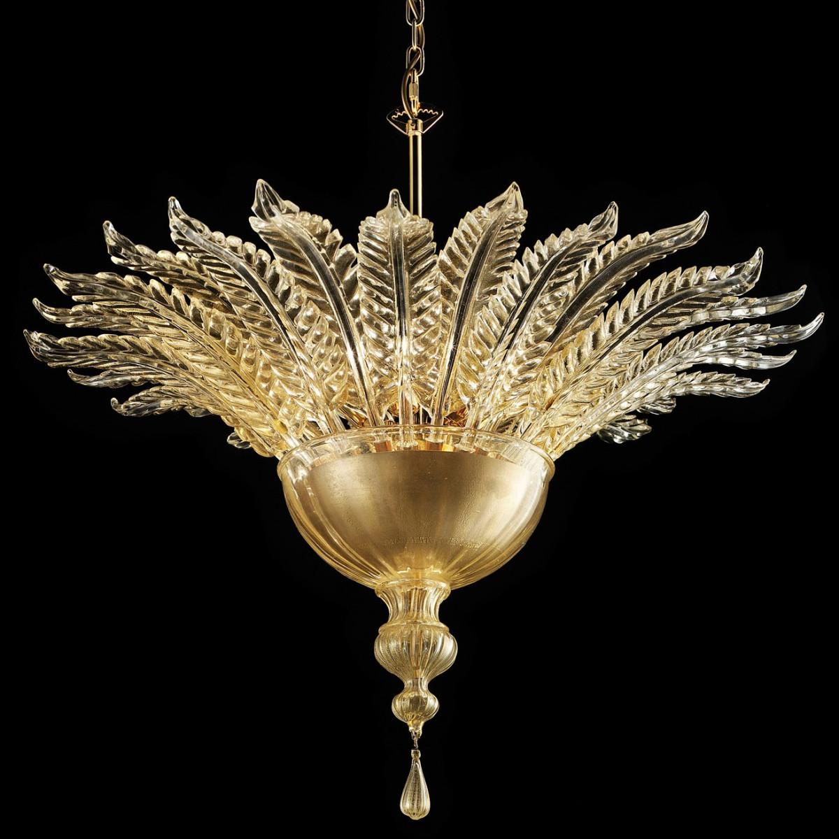 Fantastico plafonnier en verre de Murano - 6 lumieres - couleur or