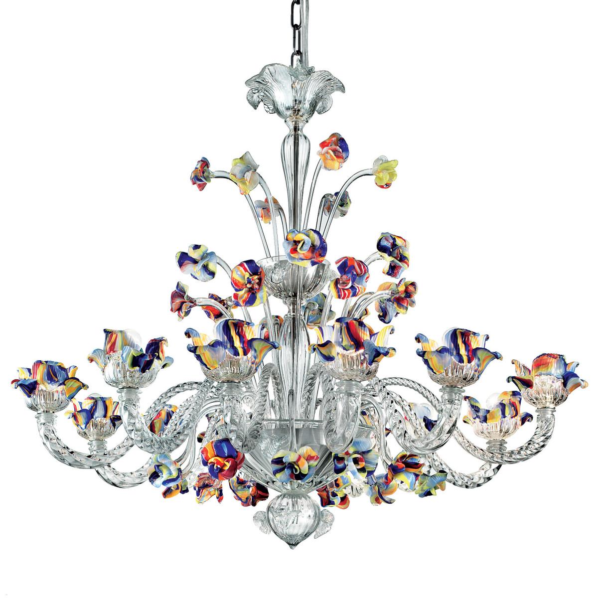 Cristallo 12 lights Murano chandelier - transparent polychrome color
