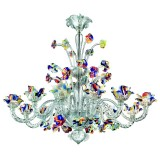 Cristallo 12 lights Murano chandelier - transparent polychrome color