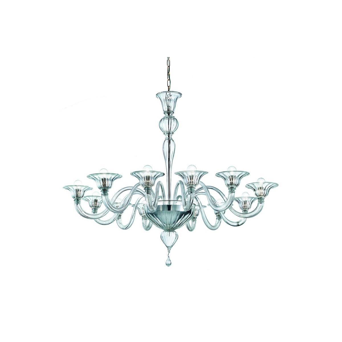 Doge 12 lights Murano chandelier - transparent color