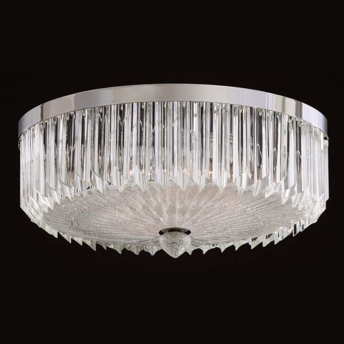 """Whitney"" plafonnier de Murano - 6 lumieres - transparent"