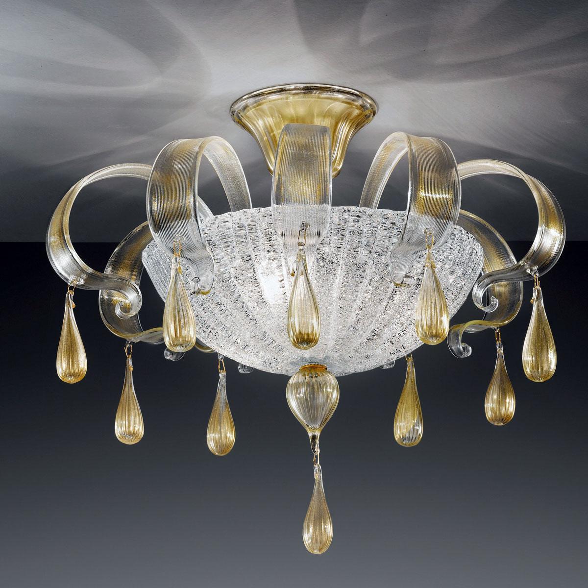 """""""Irma"""" lampara de techo de Murano - 3 luces - transparente y oro"""