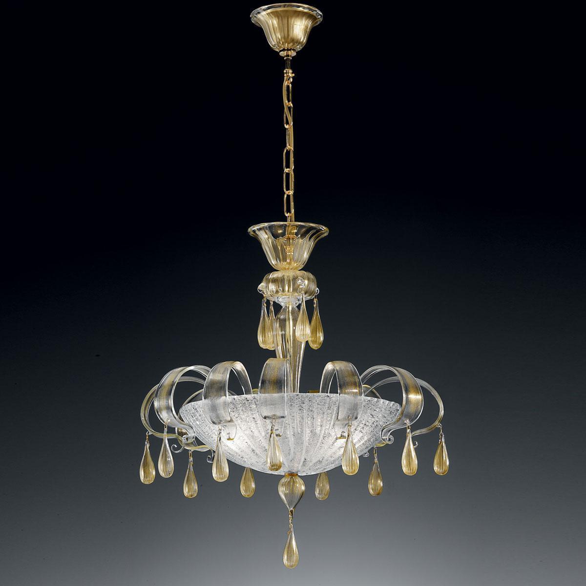 """Irma"" suspension en verre de Murano - 3 lumières - transparent et or"