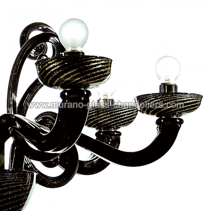 medea lustre en verre de murano noir et or murano glass chandeliers. Black Bedroom Furniture Sets. Home Design Ideas