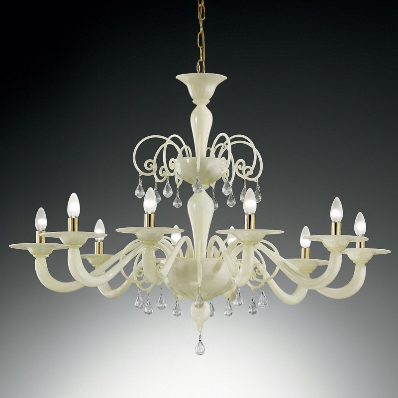 "Murano Glass Chandelier Large: ""Gertrude"" Large Murano Glass Chandelier"